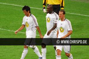 Baichung Bhutia, Clarence Seedorf and Michael Schuhmacher