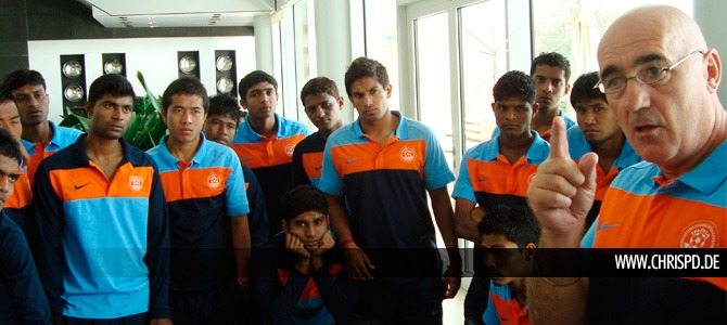 Desmond Bulpin with the India U23 team