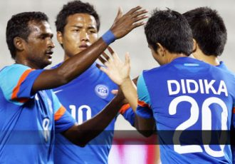 India - Sunil Chhetri and team mates celebrating