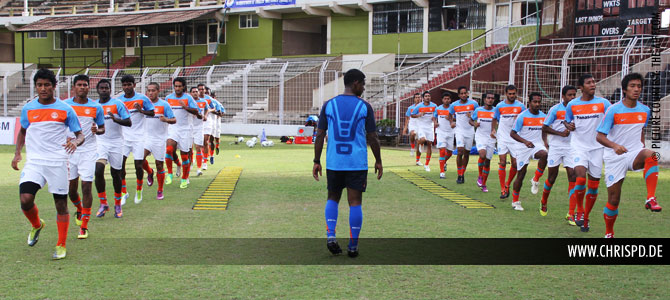 India training at the Jawaharlal Nehru Stadium, Fatorda