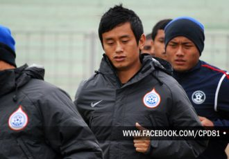 Baichung Bhutia and Jeje Lalpekhlua at India training