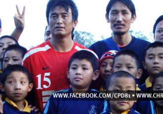 Baichung Bhutia (United Sikkim FC) with kids