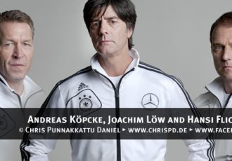 Andreas Köpcke, Joachim Löw and Hansi Flick
