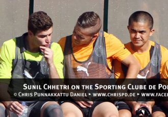 Sunil Chhetri on the Sporting Clube de Portugal bench