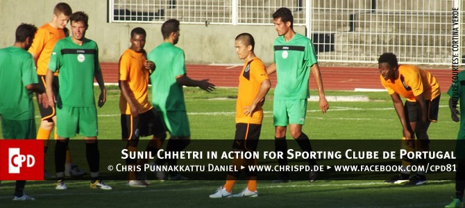 Sunil Chhetri in action for Sporting Clube de Portugal