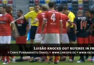 VIDEO: Luisão knocks out referee in friendly match