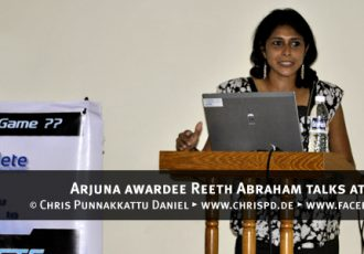 Arjuna awardee Reeth Abraham talks at SportsMeet