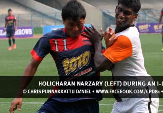 Holicharan Narzary (left) during an I-League match