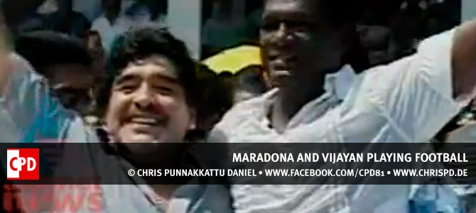 Maradona and Vijayan playing football