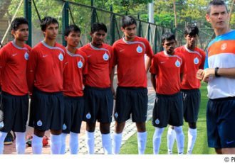 AIFF Regional Academy boys with Scott O'Donnel