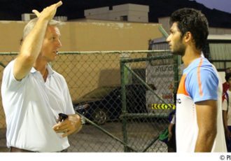 Prathamesh Maulingker with India coach Wim Koevermans