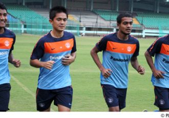 Nirmal Chettri, Sunil Chhetri, Jewel Raja and Syed Rahim Nabi during a training session