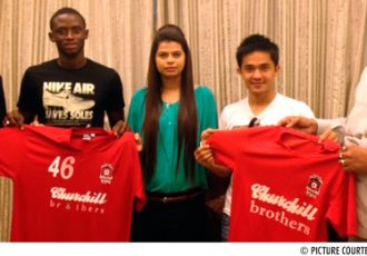 Churchill Brothers present new signings Sunil Chhetri and Lamine Tamba