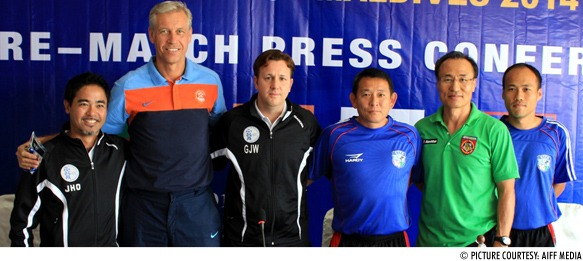 Guam assistant coach, Wim Koevermans (India), Gary White (Guam), Chen Kuel Jen (Chinese Taipei), Park Sung Wha (Myanmar) and Chinese Taipei assistant coach