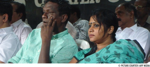 IM Vijayan and his wife during the Santosh Trophy