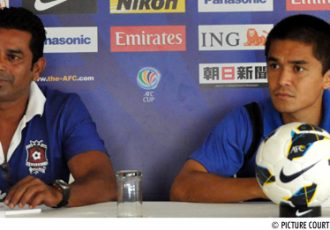 AFC Cup Press Conference with Sunil Chhetri (right)