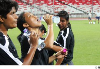 Indian Women's national team: Tuli Goon (left) and Oinam Bembem Devi (center)