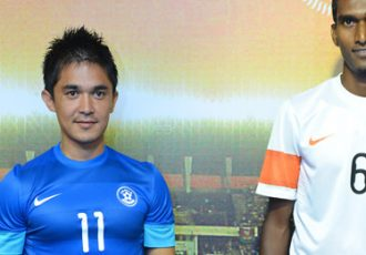 Sunil Chhetri and Lenny Rodrigues at the India kit launch