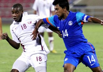 India U-19 captain Souvik Das in action against Qatar