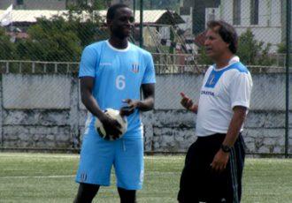 Rangdajied coach Santosh Kashyap instructs Lamine Tamba