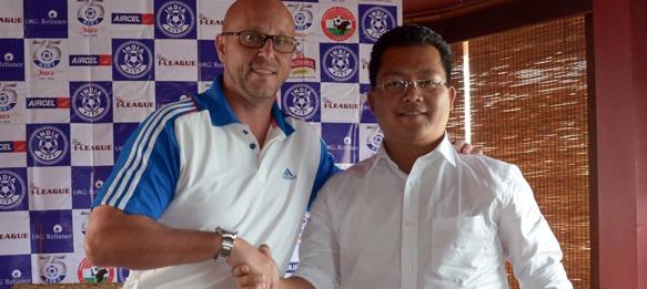 Eelco Schatorrie (Coach, United SC) and Thangboi Singto (Coach, Shillong Lajong FC)