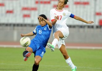 Oinam Bembem Devi in action for India against Bahrain
