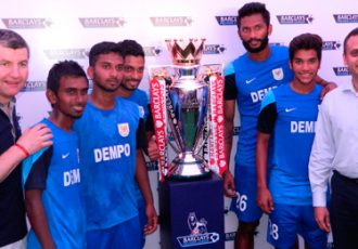 Dempo SC player and CEO with the EPL Trophy