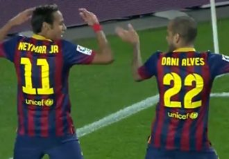 FC Barcelona's Neymar and Dani Alves