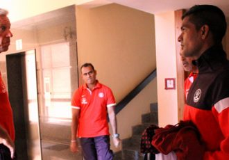 India coach Wim Koevermans in a chat with Subrata Pal