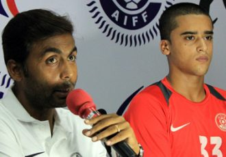 India U-16 Head Coach Goutam Ghosh and striker Krishna Pandit