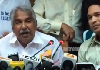Kerala Chief Minister Oommen Chandy and Sachin Tendulkar