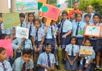 School children plant saplings at AIFF's Football House