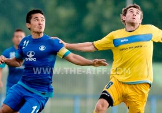 Sunil Chhetri in action against SK Senco Doubravka