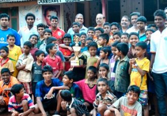 Sporting Clube de Goa players at the Margaret Bosco Bal Sadan Orphanage