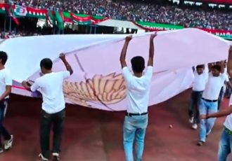 Atlético de Kolkata flag revealed at Kolkata Derby