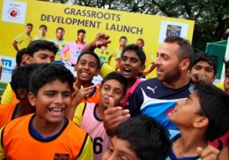 Michael Chopra during a Football Development Programme in Kerala