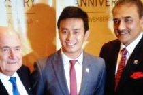 Joseph S. Blatter, Baichung Bhutia and Praful Patel