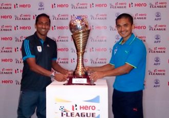 Clifford Miranda and Sunil Chhetri with the Hero I-League trophy