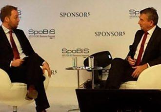 Wolfgang Niersbach speaking at the SpoBiS 2015
