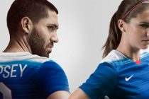 Clint Dempsey and Alex Morgan wearing the new US national team away kit by Nike