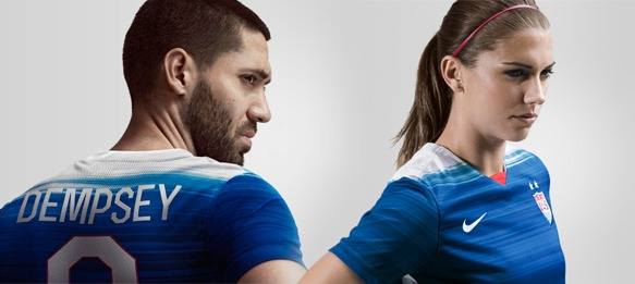 9515b8596fb Clint Dempsey and Alex Morgan wearing the new US national team away kit by  Nike