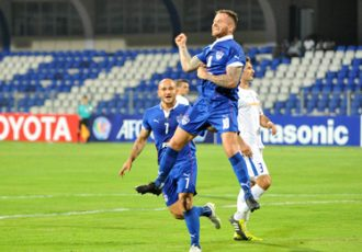 Bengaluru FC midfielder Joshua Walker celebrates after scoring against Warriors FC