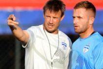 Bengaluru FC coach Ashley Westwood with Joshua Walker