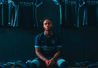 Raheem Sterling presents the 2015-16 Manchester City Away Kit
