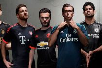 The adidas third jerseys of (from left to right) Juventus, FC Bayern Munich, Manchester United, Real Madrid, Chelsea & AC Milan