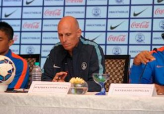 Sunil Chhetri, Stephen Constantine and Sandesh Jhingan