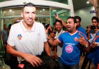 Lucio (FC Goa) arrives at Dabolim Airport, Goa, India