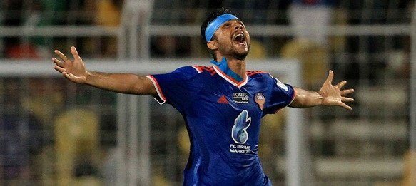 Keenan Almeida (FC Goa) celebrating his goal against Atlético de Kolkata