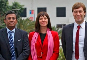 Kushal Das (General Secretary, AIFF), Natalia Riffo (Minister of Sports, Government of Chile), Javie Ceppi (Tournament Director, FIFA U-17 World Cup India 2017)