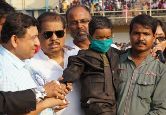 "Joydeep Koruli at the ""Play for Cancer"" charity football match Mohammedan Sporting v East Bengal"